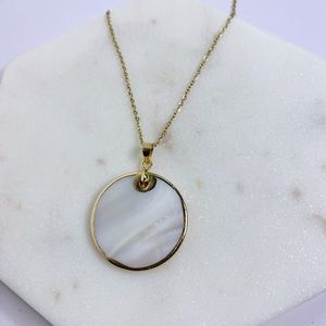 Jennifer Mother of Pearl Round Pendant Necklace